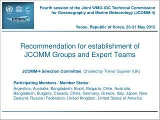 Recommendation for establishment of  JCOMM Groups and Expert Teams