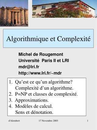 Algorithmique et Complexit