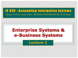 Enterprise Systems &  e-Business Systems