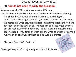 Tuesday November 27 th  2012