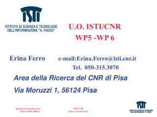 U.O. ISTI/CNR WP5 -WP 6 Erina Ferro e-mail:Erina.Ferro@istir.it  Tel.  050-315.3070