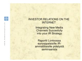 INVESTOR RELATIONS ON THE INTERNET