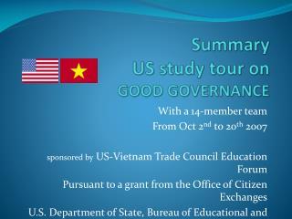Summary US study tour on  GOOD GOVERNANCE