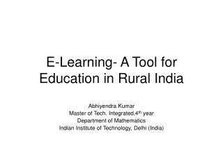 E-Learning- A Tool for Education in Rural India