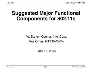 Suggested Major Functional Components for 802.11s