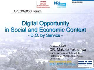 Digital Opportunity  in Social and Economic Context - D.O. by Service -