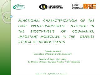 Fazeelat Karamat  Laboratoire d'Agronomie et Environnement Director of thesis :  Hehn Alain