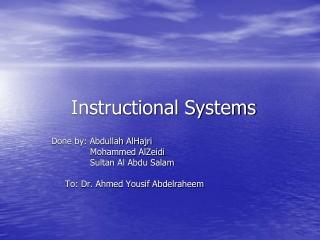 Web Based Instruction Seminar I