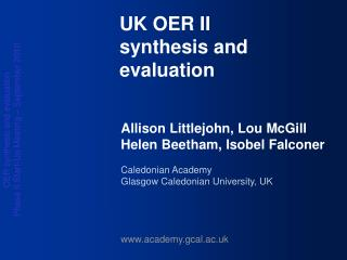 UK OER II synthesis and evaluation