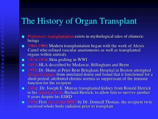 The History of Organ Transplant