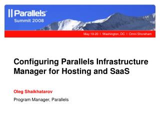 Configuring Parallels Infrastructure Manager for Hosting and SaaS