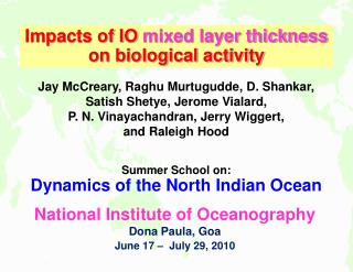 Impacts of Indian Ocean circulation on biological activity