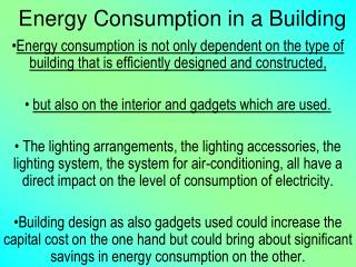 Energy Consumption in a Building