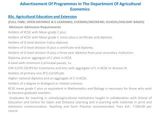 Advertisement Of Programmes In The Department Of Agricultural Economics