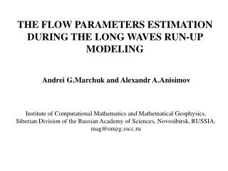 THE FLOW PARAMETERS ESTIMATION DURING THE LONG WAVES RUN-UP MODELING