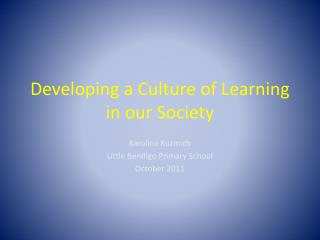 Developing a Culture of Learning in our Society
