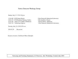 Vertex Detector Working Group