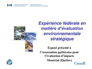 Expérience fédérale en matière d'évaluation environnementale stratégique