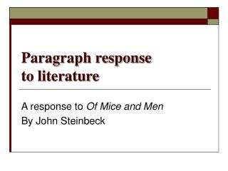 Paragraph response  to literature