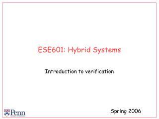 ESE601: Hybrid Systems