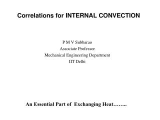 Correlations for INTERNAL CONVECTION