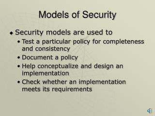 Models of Security