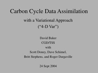 Carbon Cycle Data Assimilation