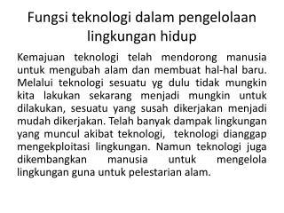 Fungsi teknologi dalam pengelolaan lingkungan hidup
