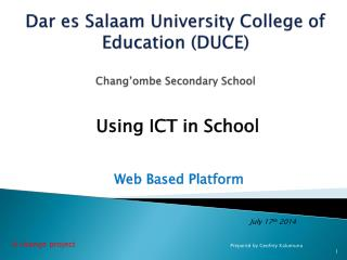 Dar  es  Salaam University College of Education (DUCE) Chang'ombe  Secondary School