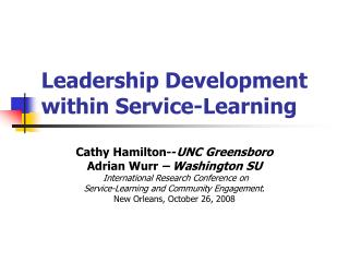 Leadership Development within Service-Learning