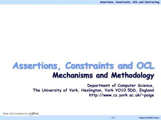 Assertions, Constraints and OCL Mechanisms and Methodology Department of Computer Science,