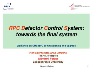 RPC D etector  C ontrol  S ystem: towards the final system