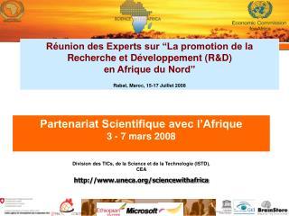Partenariat Scientifique avec l'Afrique 3 - 7 mars 2008