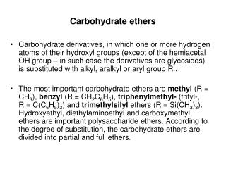 Carbohydrate ethers