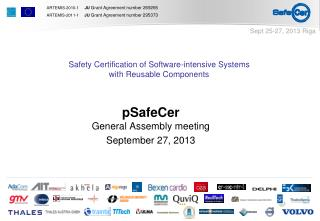 pSafeCer General Assembly meeting September 27, 2013