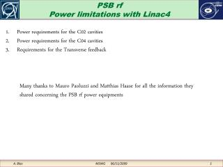 PSB rf Power limitations with Linac4