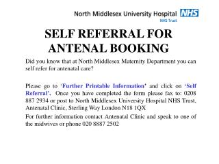 SELF REFERRAL FOR  ANTENAL BOOKING