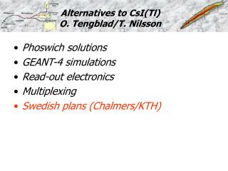 Alternatives to CsI(Tl) O. Tengblad/T. Nilsson
