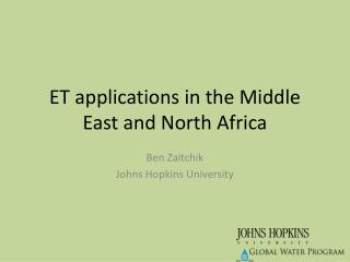 ET applications in the Middle East and North Africa