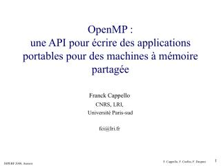OpenMP :  une API pour écrire des applications portables pour des machines à mémoire partagée