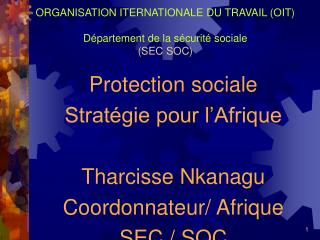 ORGANISATION ITERNATIONALE DU TRAVAIL (OIT) Département de la sécurité sociale (SEC SOC)