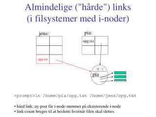 """Almindelige (""""hårde"""") links  (i filsystemer med i-noder)"""