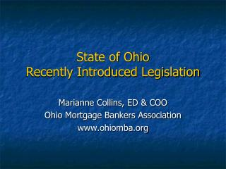 State of Ohio Recently Introduced Legislation