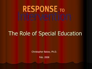 The Role of Special Education