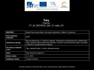 Tuky Chemie VY_32_INOVACE_240, 12.  sada,  CH