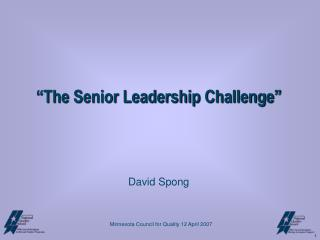 """The Senior Leadership Challenge"" David Spong"