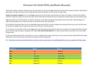 Information från VOLVO PENTA, beträffande offeranoder