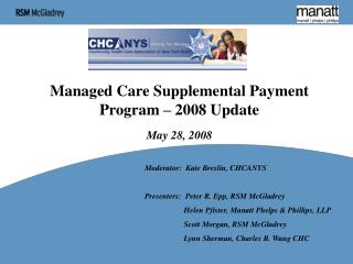 Managed Care Supplemental Payment Program – 2008 Update