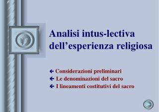 Analisi intus-lectiva dell'esperienza religiosa