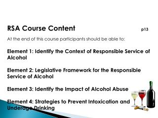 RSA Course Content        p13 At the end of this course participants should be able to: